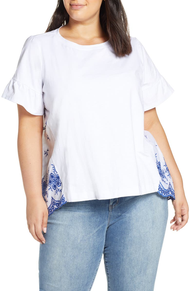 SINGLE THREAD Embroidered Block Tee, Main, color, 105