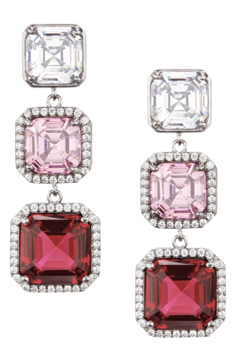 NINA Halo Cubic Zirconia Drop Earrings, Main, color, BLK RHOD/ROSE MULT CRY/WHT CZ