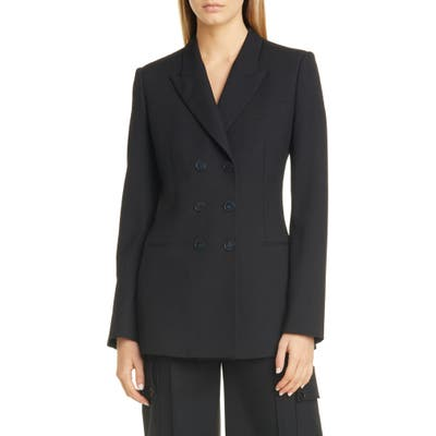 Stella Mccartney Double Breasted Wool Twill Blazer, 6 IT - Black