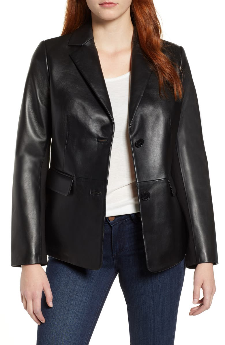 VIA SPIGA Updated Leather Blazer, Main, color, BLACK