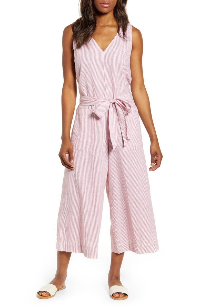 BEACHLUNCHLOUNGE Lennon Tie Waist Linen & Cotton Jumpsuit, Main, color, LYCHEE