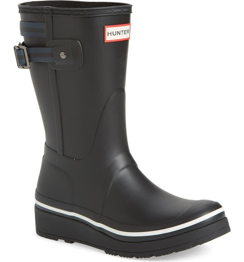 HUNTER 'Original Short' Wedge Rain Boot, Main, color, 008
