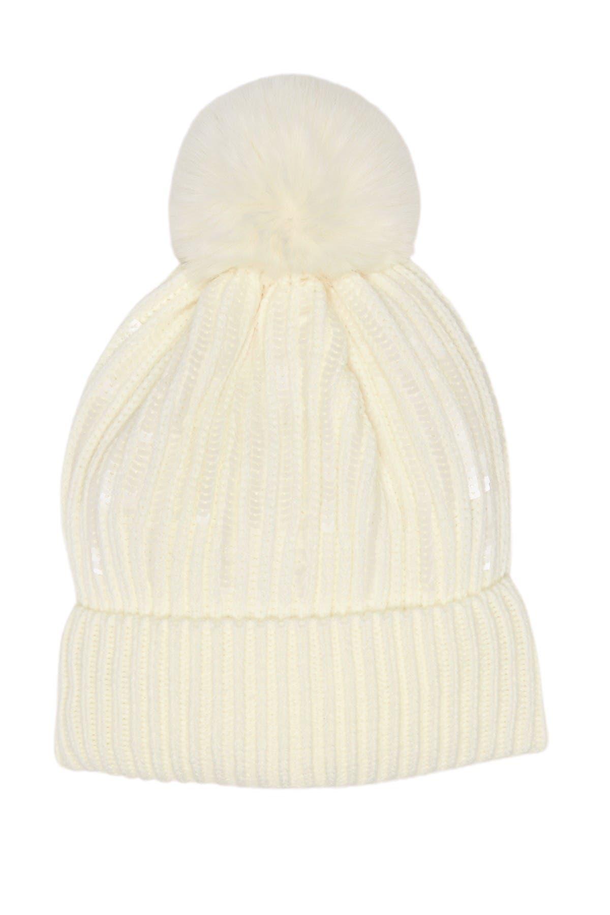 Image of BCBG Faux Fur Pompom Sequin Shine Beanie