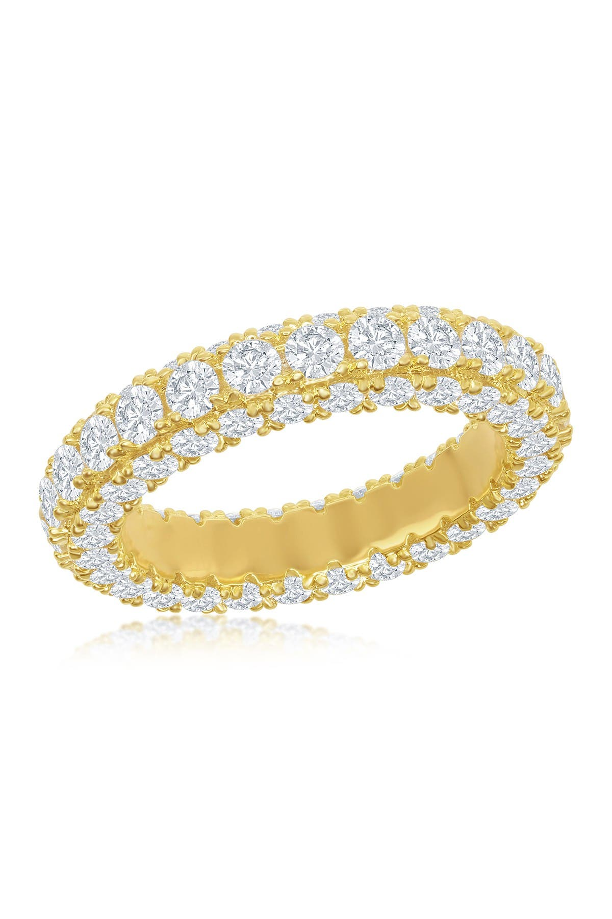 Image of Simona Jewelry 14K Yellow Gold Plated Sterling Silver Pave CZ Eternity Band Ring