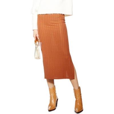 Topshop Ribbed Midi Skirt, US (fits like 10-12) - Metallic