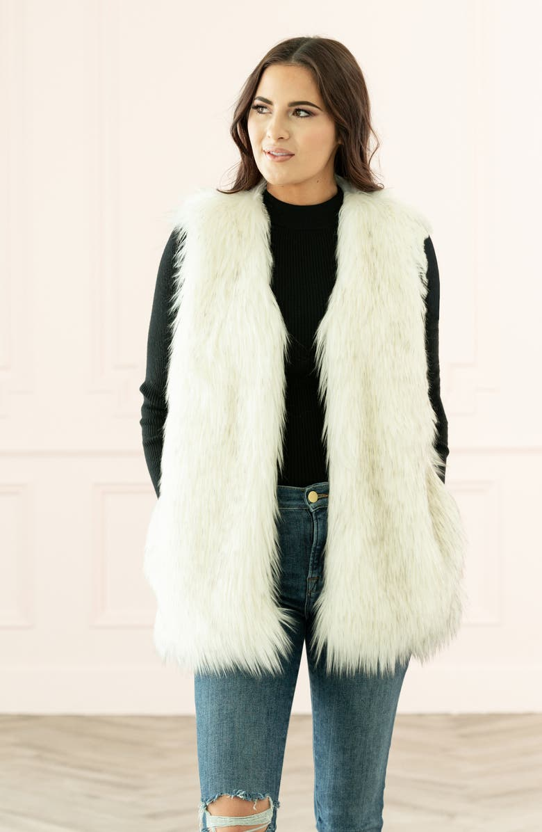 RACHEL PARCELL Faux Fur Vest, Main, color, WHITE