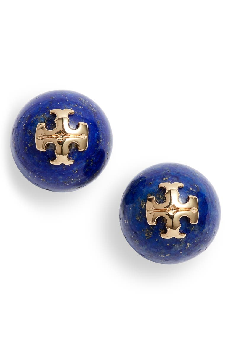 TORY BURCH Logo Semiprecious Stone Stud Earrings, Main, color, TORY GOLD / LAPIS 2