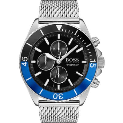 Boss Ocean Edition Chronograph Mesh Strap Watch, 4m