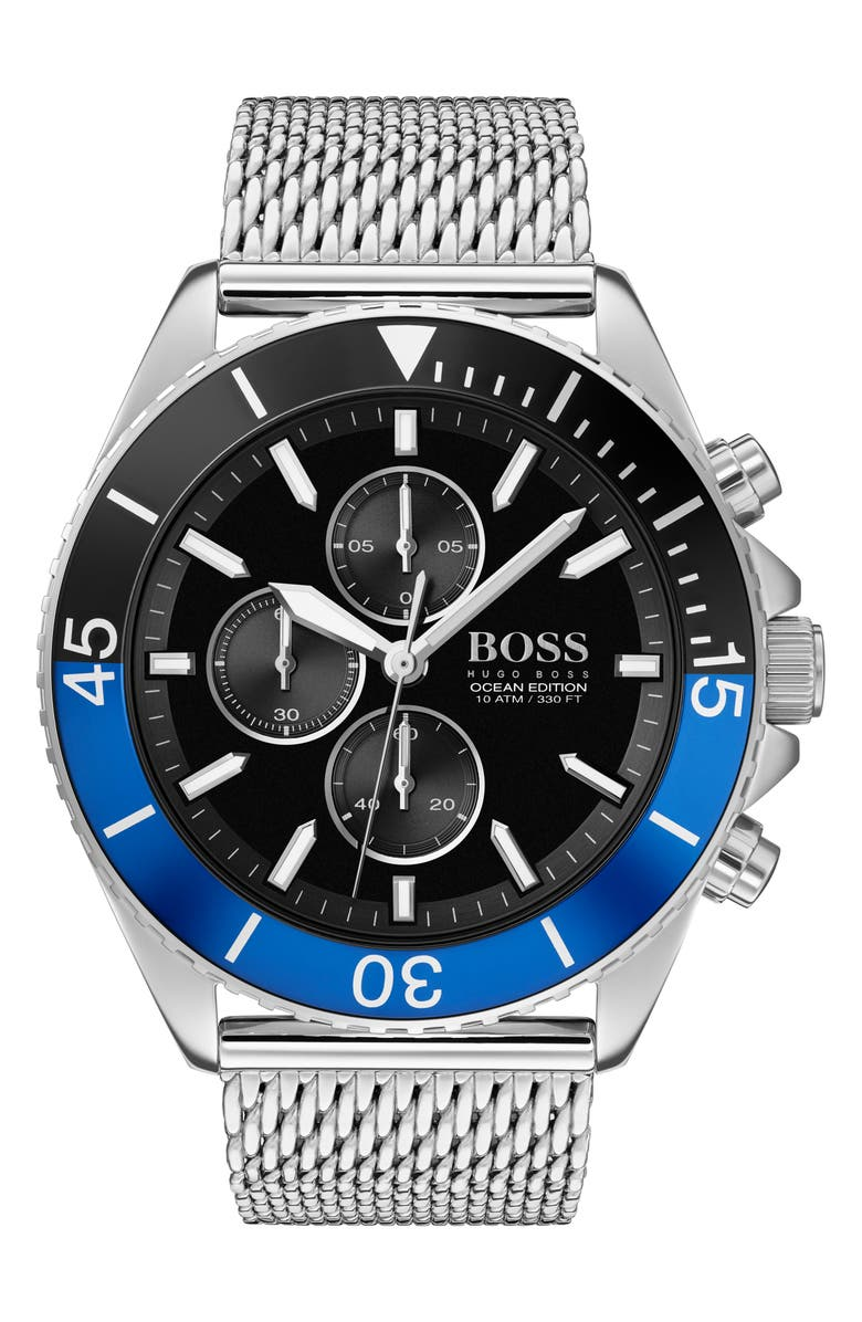 BOSS Ocean Edition Chronograph Mesh Strap Watch, 46mm, Main, color, SILVER/ BLACK/ BLUE/ SILVER