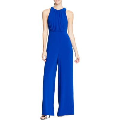 Halston Heritage Wide Leg Jumpsuit, Blue