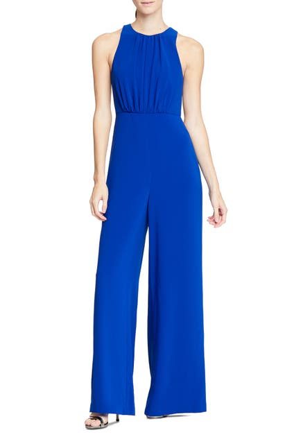 Halston Heritage Wide Leg Jumpsuit In Royal Blue