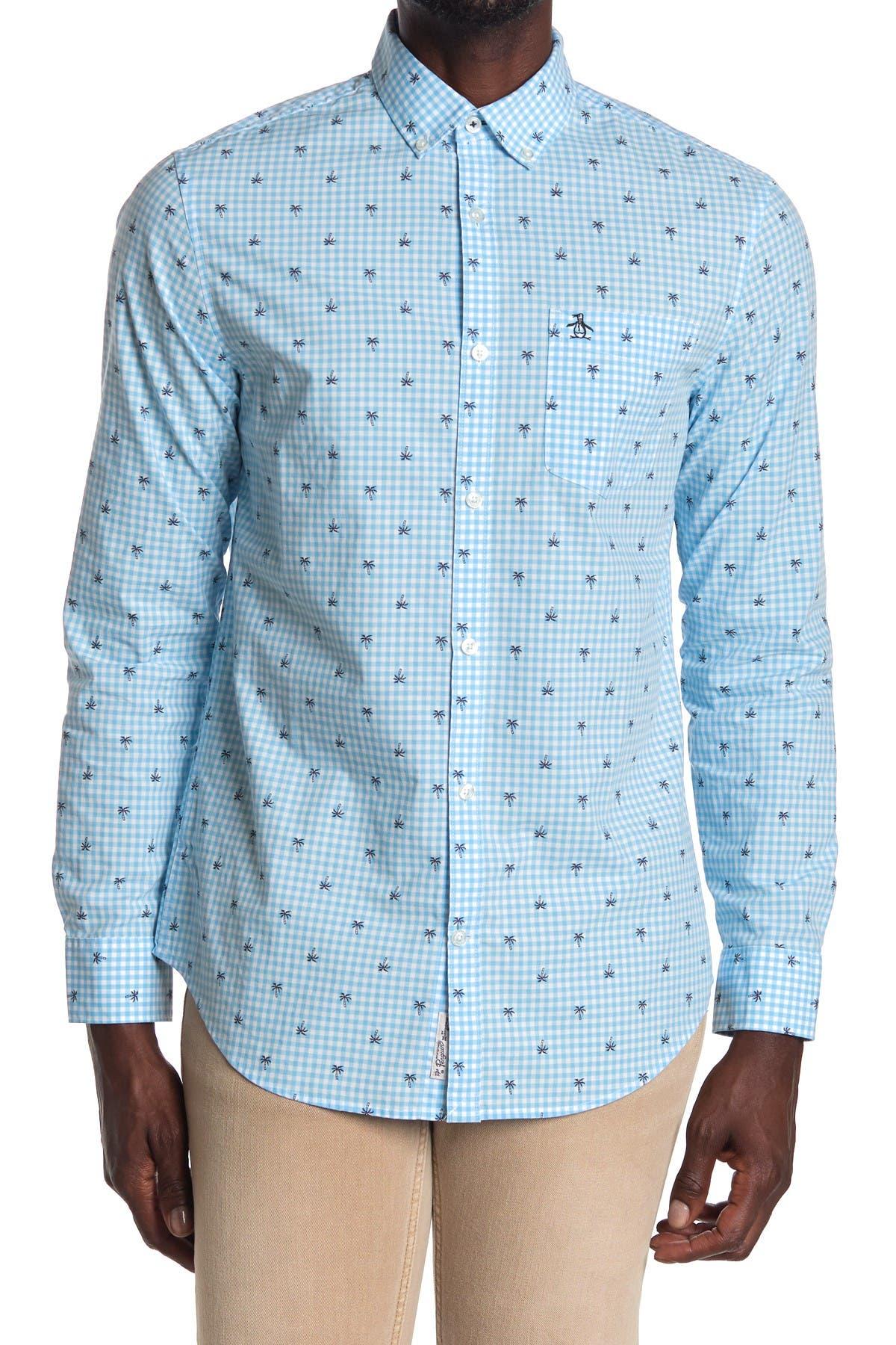 Original Penguin Boys Button Down Shirt Long Sleeve Collared Shirt
