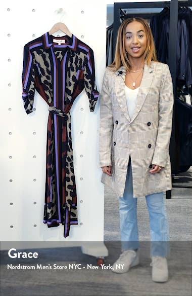 Sogol Pattern Mix Long Sleeve Silk Shirtdress, sales video thumbnail
