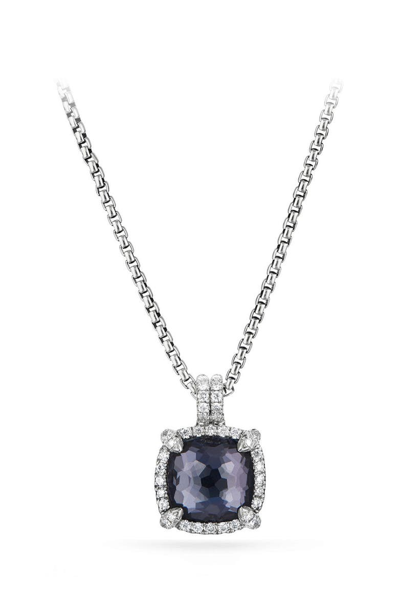 DAVID YURMAN Chatelaine Pavé Bezel Pendant Necklace with Black Orchid and Diamonds, Main, color, AMETHYST/ HEMETINE