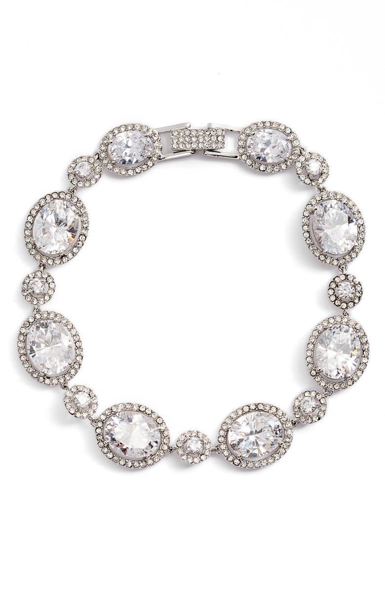 NORDSTROM Crystal Statement Bracelet, Main, color, CLEAR- SILVER