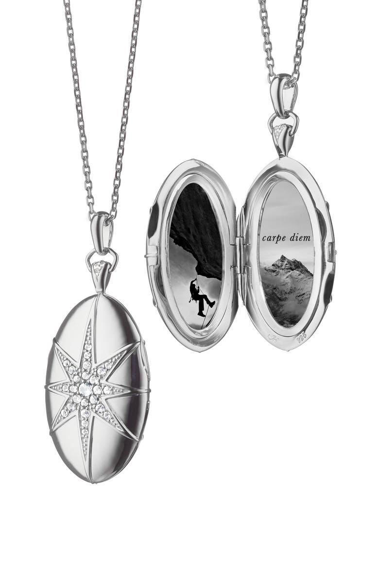 MONICA RICH KOSANN White Sapphire Star Locket Necklace, Main, color, STERLING SILVER
