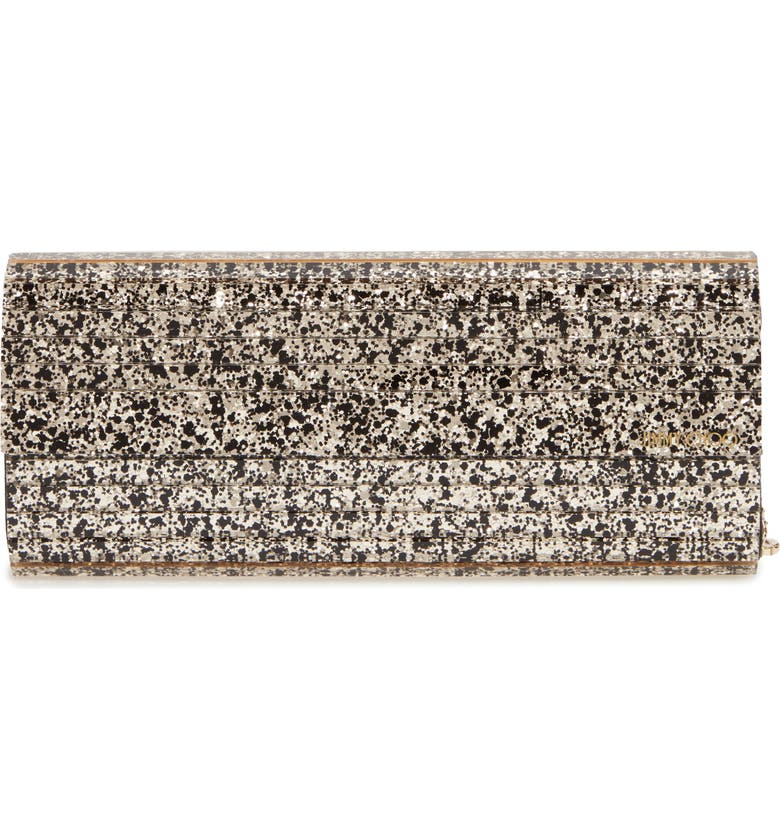 JIMMY CHOO Sweetie Glitter Clutch, Main, color, GOLD MIX