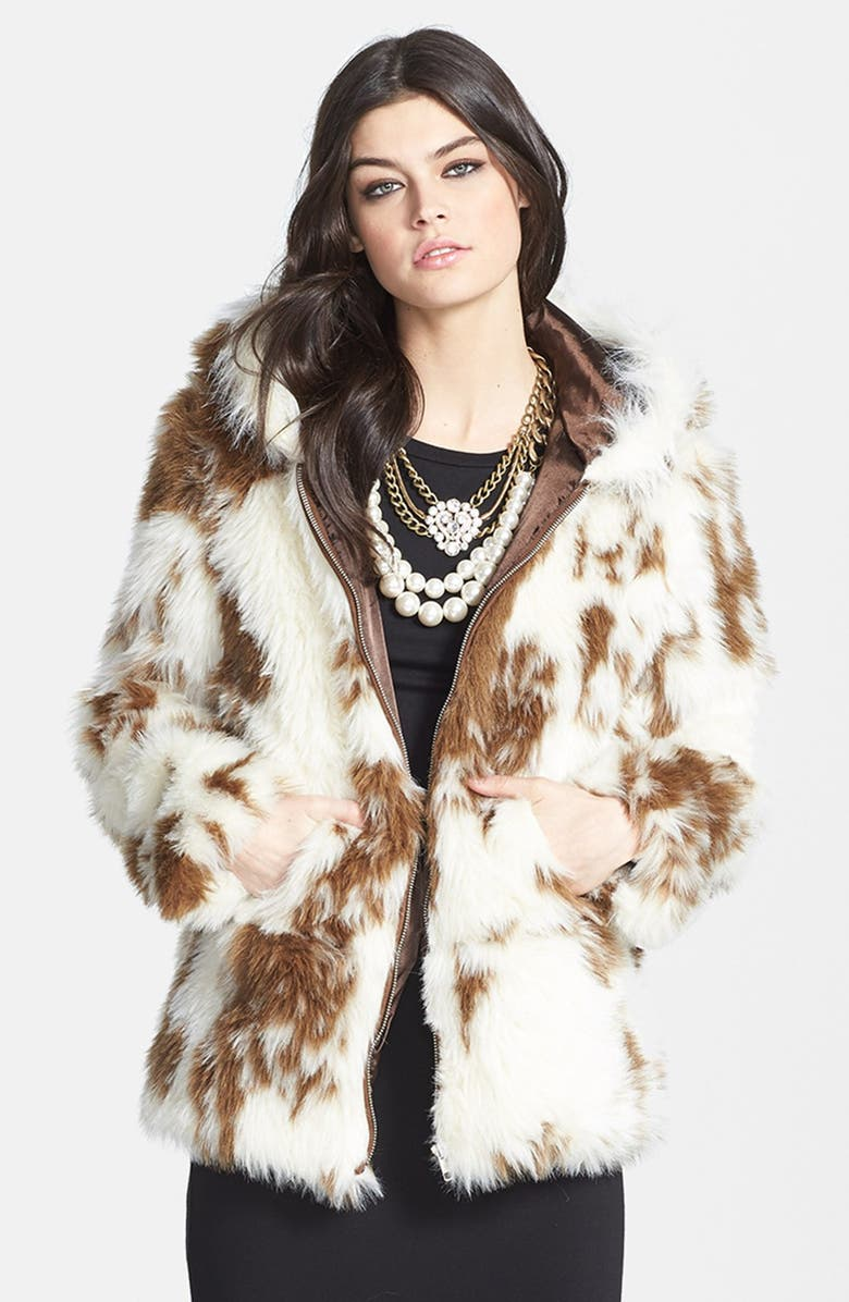 LARK Spot Print Hooded Faux Fur Coat, Main, color, 100