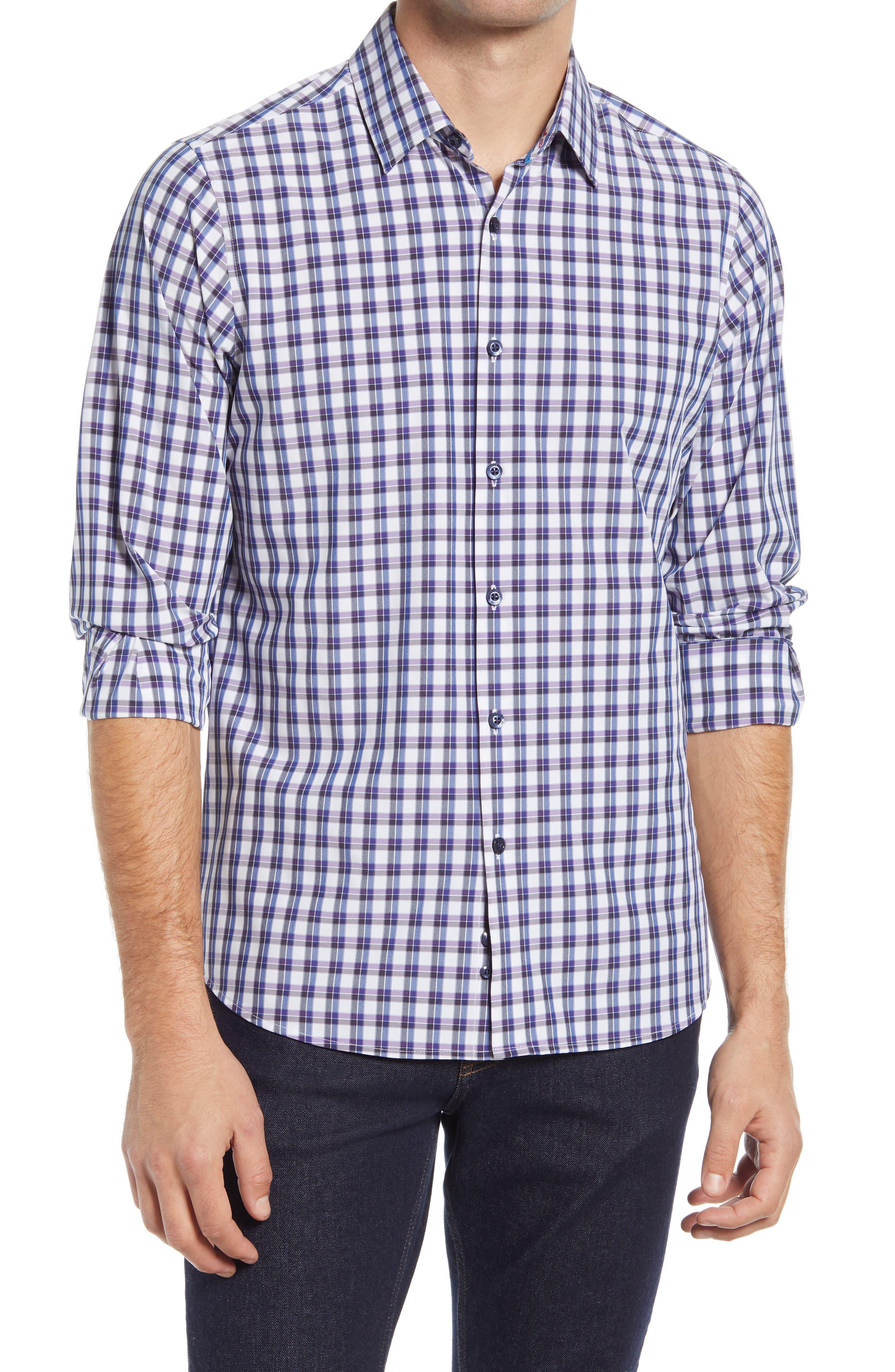 Regular Fit Check Button-Up Performance Shirt