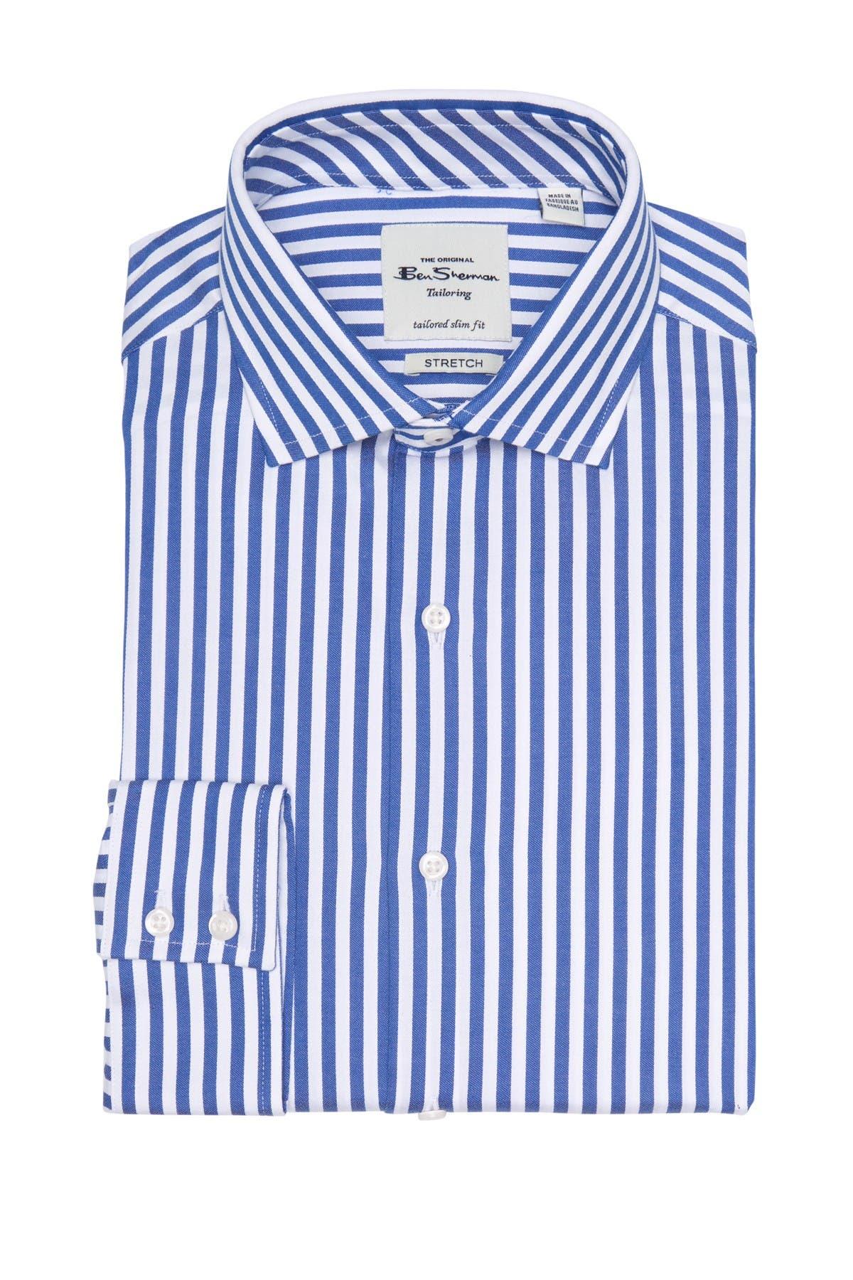 Image of Ben Sherman Royal Sateen Bengal Stripe Slim Fit Dress Shirt