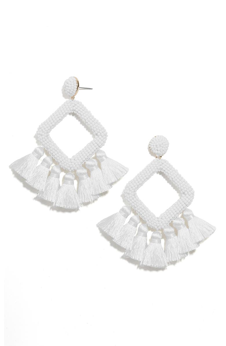BAUBLEBAR Laniyah Tassel Statement Earrings, Main, color, WHITE