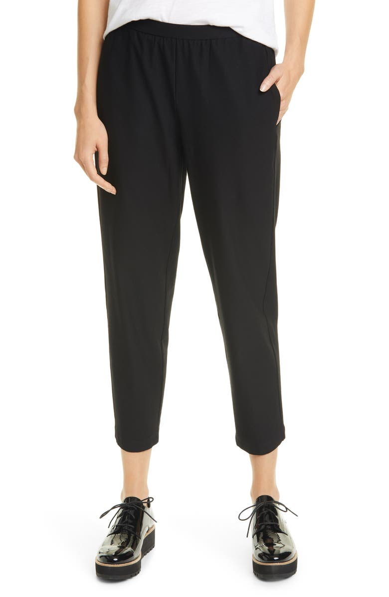 EILEEN FISHER Tapered Ankle Pants, Main, color, 001