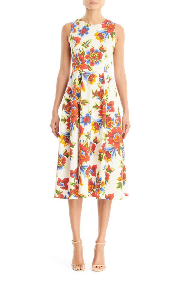 CAROLINA HERRERA Sleeveless A-Line Midi Dress, Main, color, WHITE MULTI