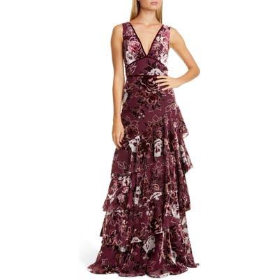 Marchesa Notte Floral Tiered Velvet Gown, Burgundy