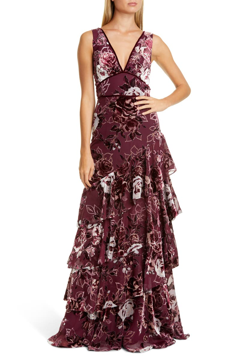 MARCHESA NOTTE Floral Tiered Velvet Gown, Main, color, WINE