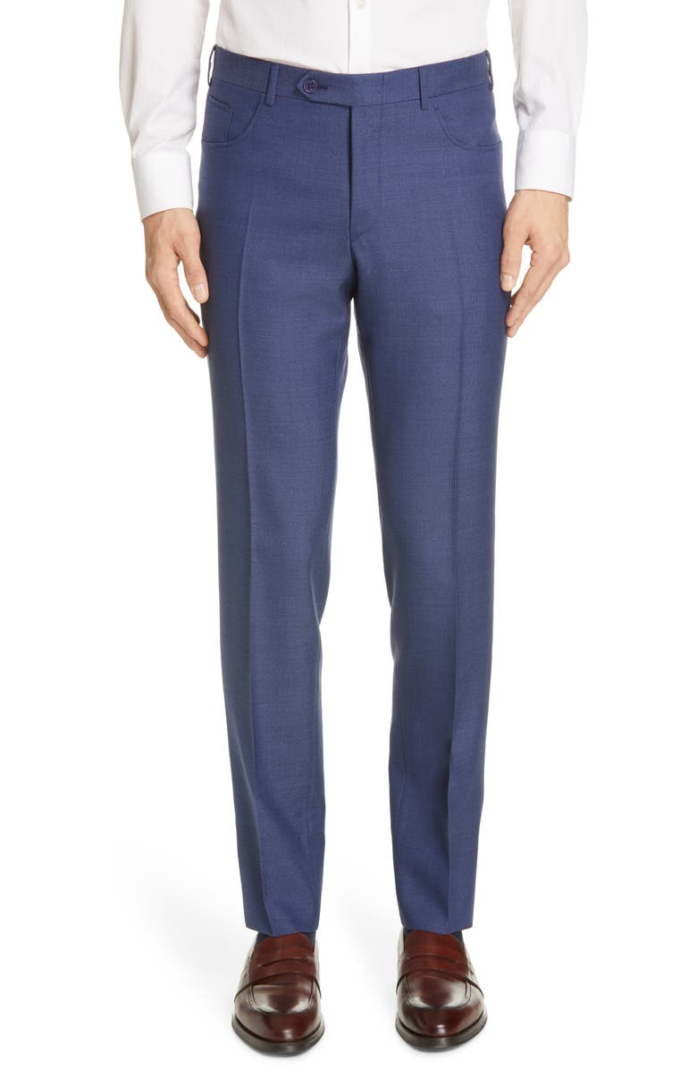 CANALI Five Pocket Slim Fit Wool Travel Trousers, Main, color, BLUE