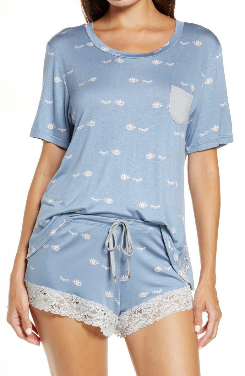 HONEYDEW INTIMATES Something Sweet Short Pajamas, Main, color, MOONLIT EYES