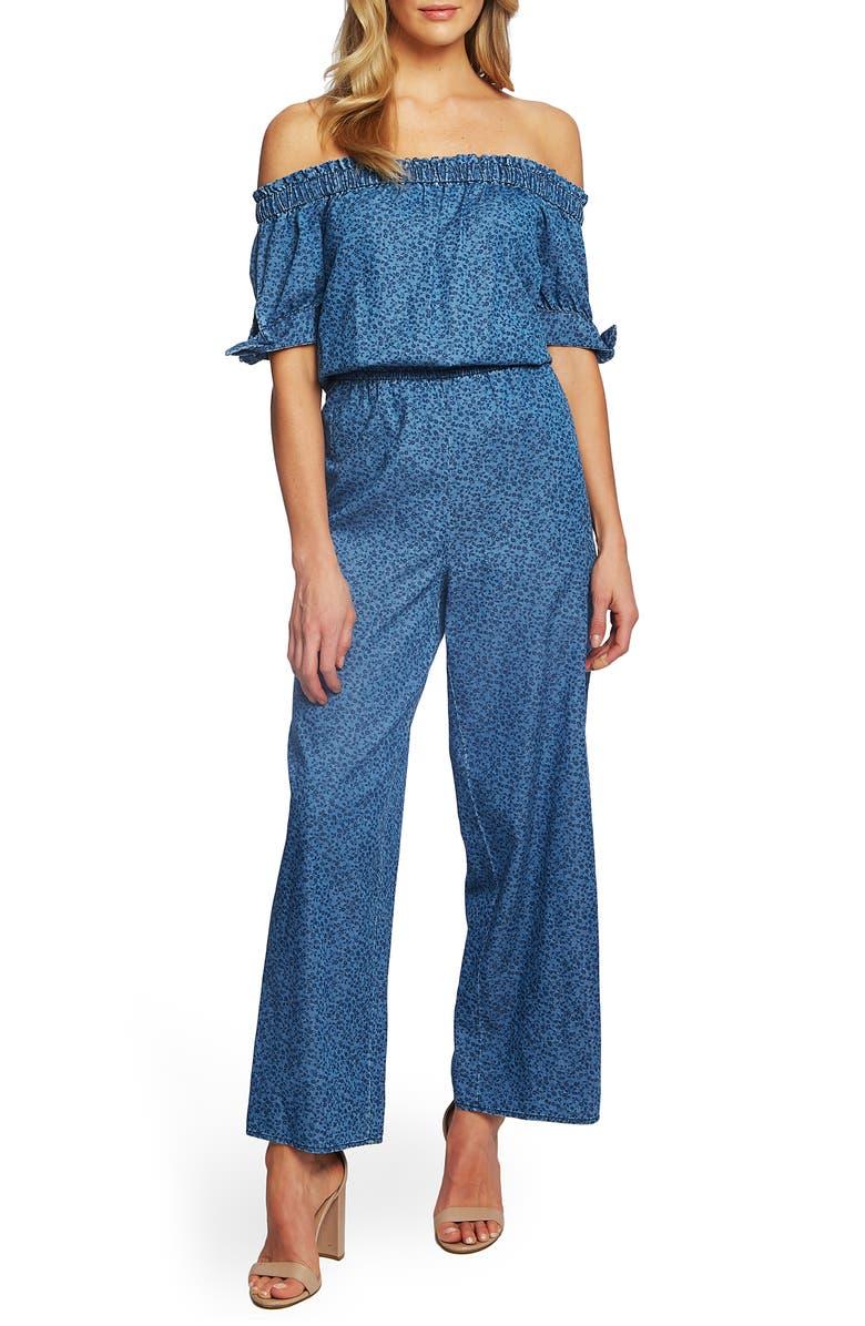 CECE Off the Shoulder Wide Leg Cotton Jumpsuit, Main, color, 413