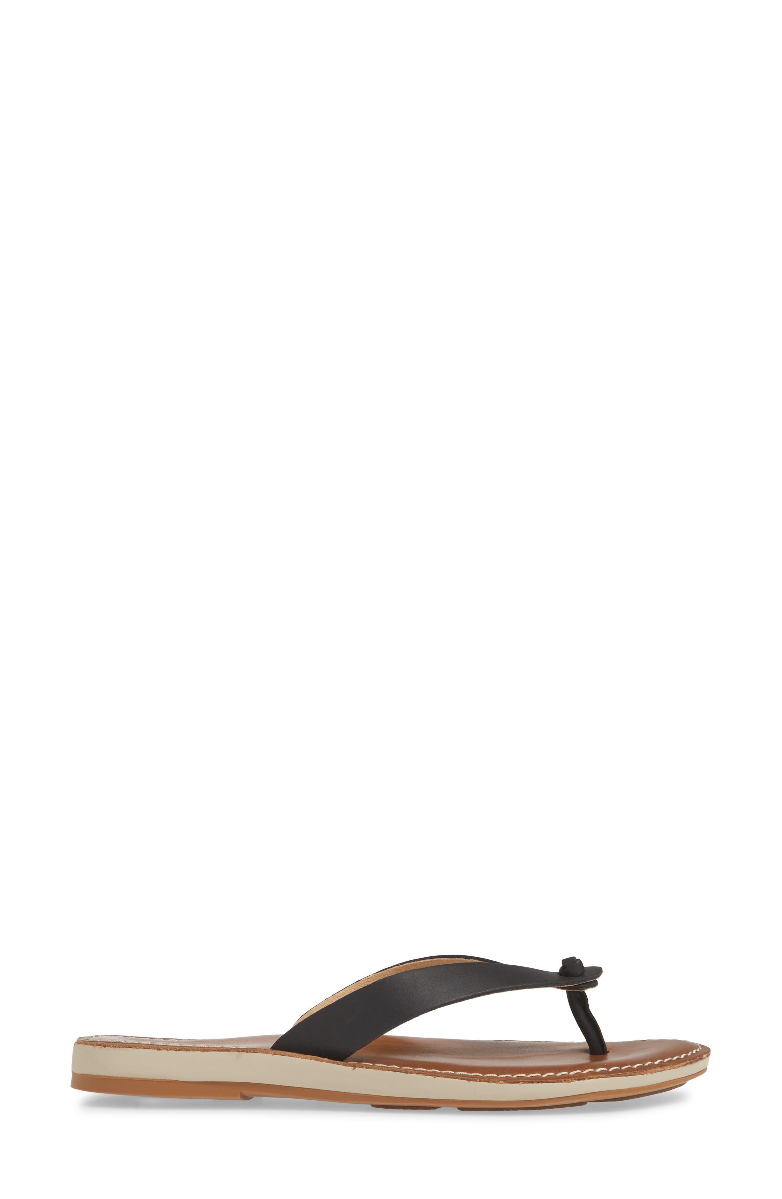 ,                             Nohie Flip Flop,                             Alternate thumbnail 3, color,                             BLACK/ TAN LEATHER