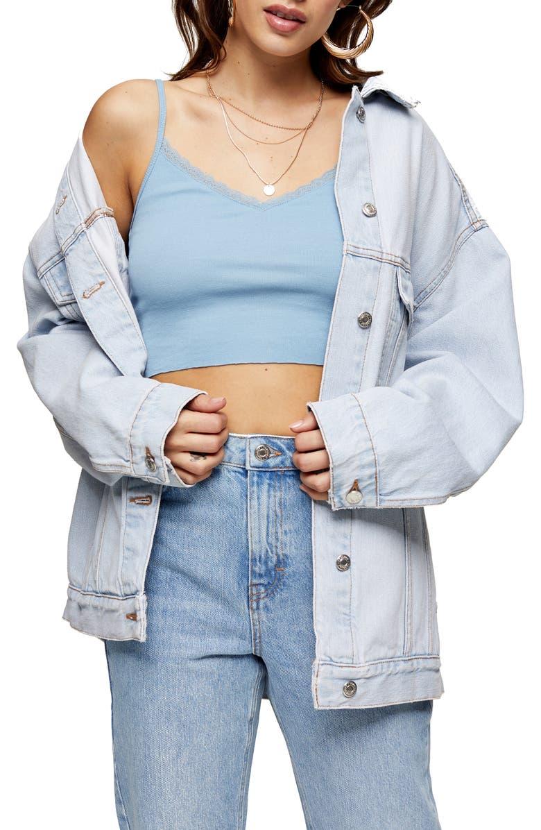 TOPSHOP Crop Lace Trim Cotton Camisole, Main, color, BLUE