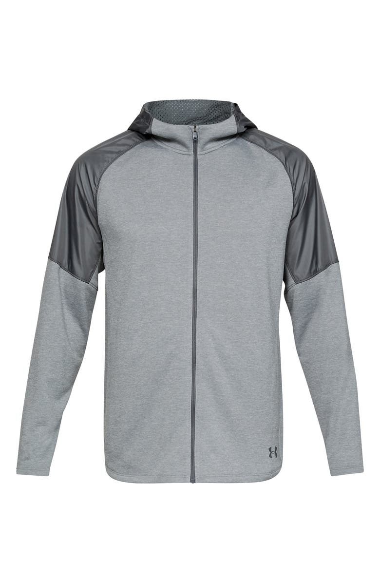UNDER ARMOUR MK1 Full Zip Terry Hoodie, Main, color, MOD GREY/ PITCH GREY