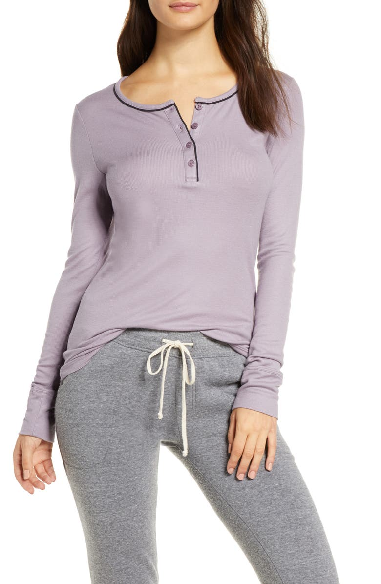 TOMMY JOHN Ribbed Long Sleeve Henley Top, Main, color, GREY RIDGE
