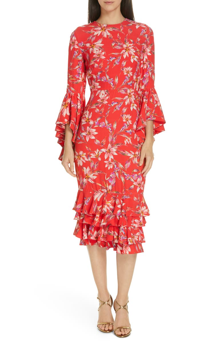 AMUR Carole Ruffle Trim Midi Dress, Main, color, RED