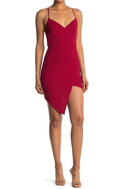 Image of Love, Nickie Lew Surplice Asymmetrical Bodycon Dress