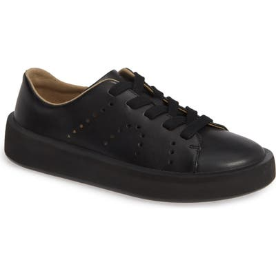 Camper Courb Perforated Low Top Sneaker, Black