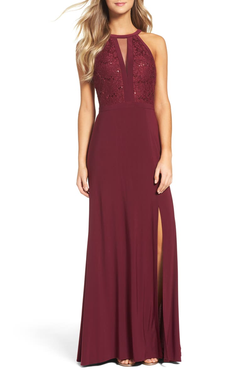MORGAN & CO. Lace & Jersey Gown, Main, color, MERLOT