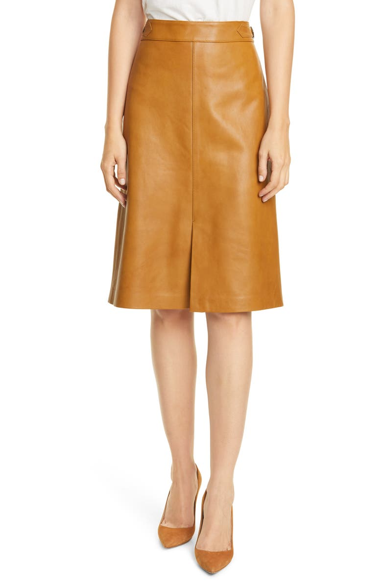 NORDSTROM SIGNATURE Buckle Detail Leather Skirt, Main, color, 210