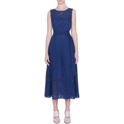 Akris Punto Belted Dot Organza Midi Dress, Blue