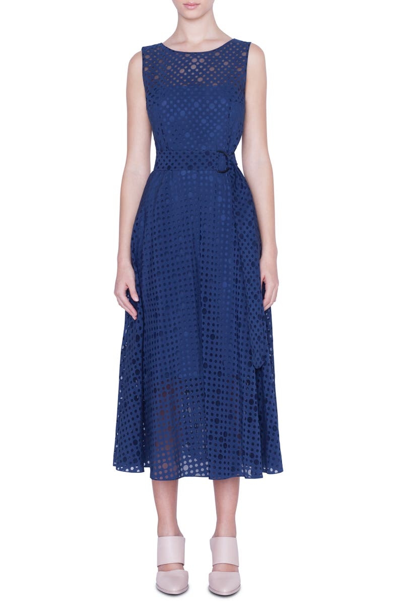 AKRIS PUNTO Belted Dot Organza Midi Dress, Main, color, DARK DENIM