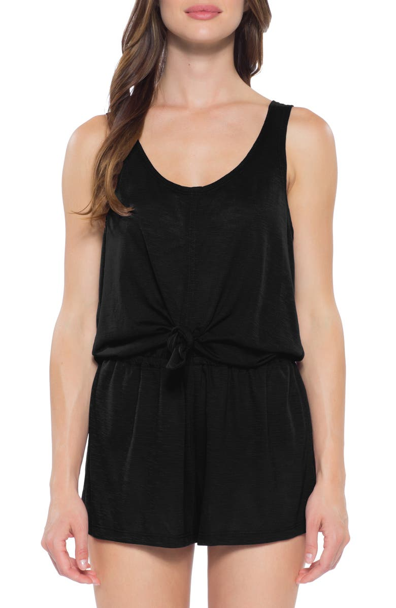BECCA Breezy Basics Knot Cover-Up Romper, Main, color, BLACK