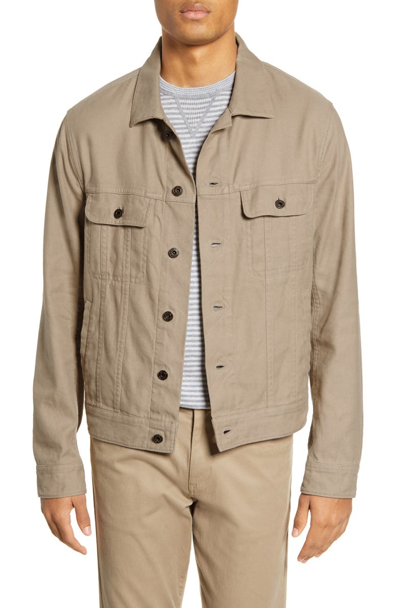 VINCE Slim Fit Linen & Cotton Trucker Jacket, Main, color, 283