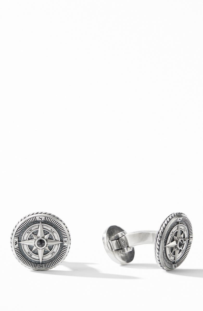 DAVID YURMAN Maritime<sup>®</sup> Compass Cuff Links with Center Black Diamonds, Main, color, SILVER/ BLACK DIAMOND