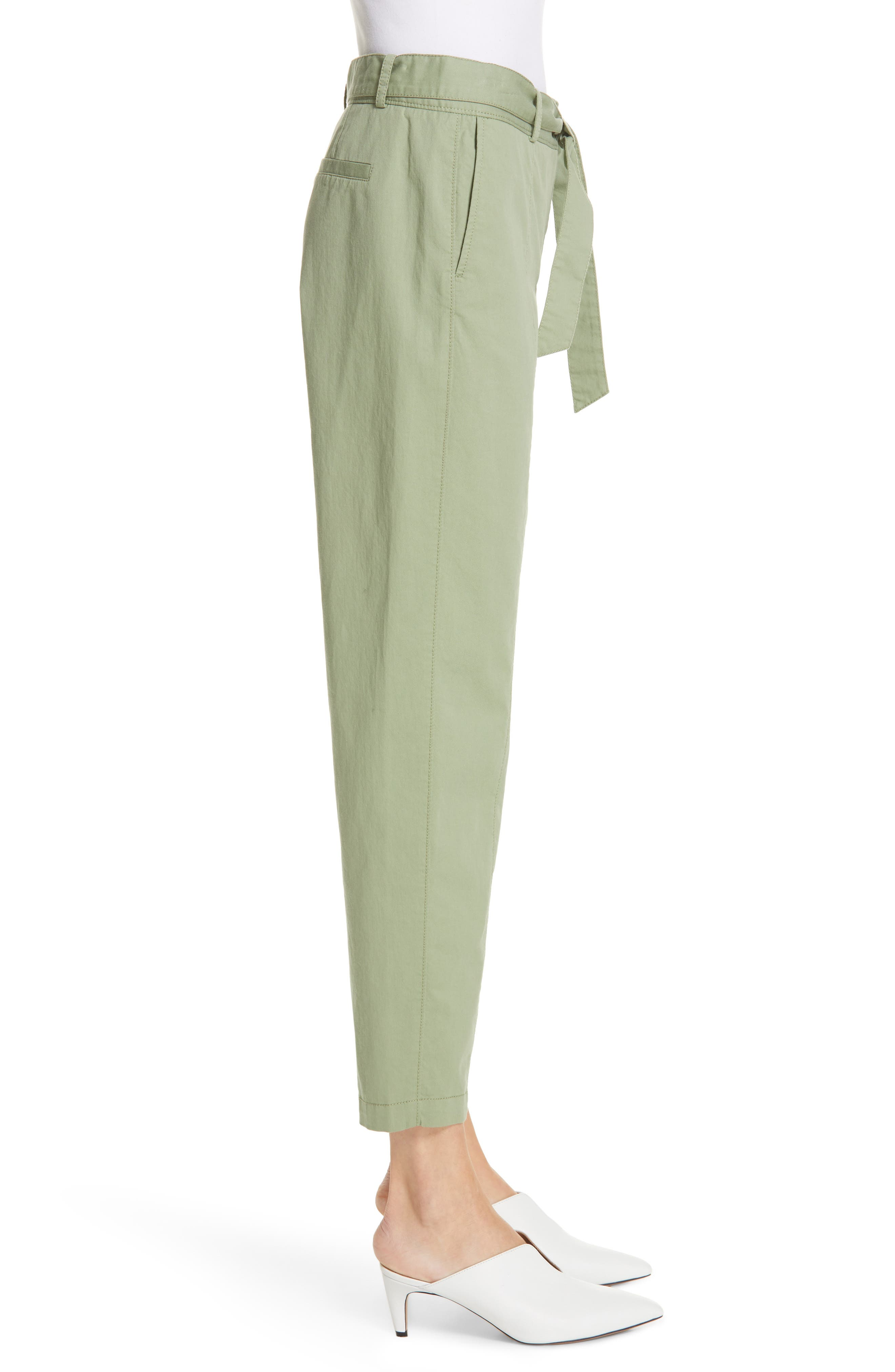 ,                             Center Seam Drawstring Stretch Cotton Pants,                             Alternate thumbnail 4, color,                             GREEN BASIL