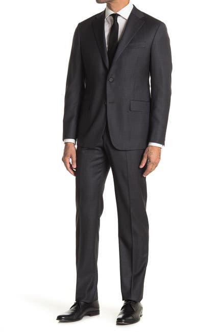 Image of Hickey Freeman Dark Gray Gingham Modern Fit 2B Plaid 2-Piece Suit Set