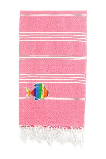 Image of LINUM HOME 100% Turkish Cotton Lucky Sparkling Rainbow Fish Pestemal Beach Towel - Pretty Pink