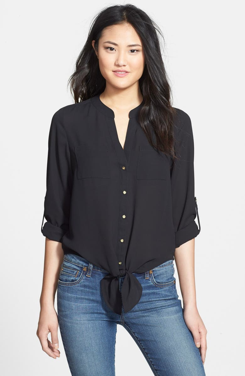 CHAUS Roll Sleeve Tie Front Blouse, Main, color, 006